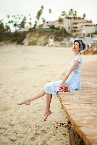 light blue vintage dress - light blue vintage scarf - cream Forever 21 belt