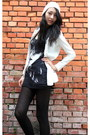 Black-booties-nasty-gal-boots-white-beenie-pazzo-hat-white-ilovecarol-jacket