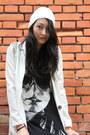 Black-booties-nasty-gal-boots-white-beenie-pazzo-hat-white-ilovecarol-jacket