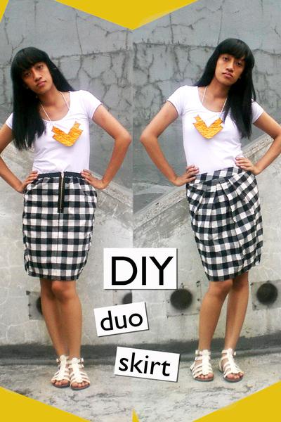random brand t-shirt - DIY skirt - DIY necklace - ITC M2 shoes