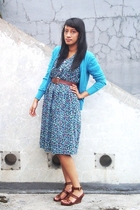 blue random cardigan - blue thrifted dress - brown thrifted belt - brown ITC M2