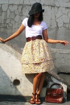 one-dollar-store hat - random top - Self-Sewn skirt - belt - - ITC