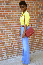 Gap jeans - yellow Express shirt - red vintage Coach bag - Tom Ford sunglasses