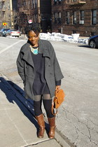Aldo boots - French Connection coat - H&M sweater - H&M tights - vintage Coach b