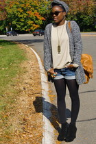 Zara cardigan - banana republic sweater - H&M shorts - Gap bag - Steve Madden sh