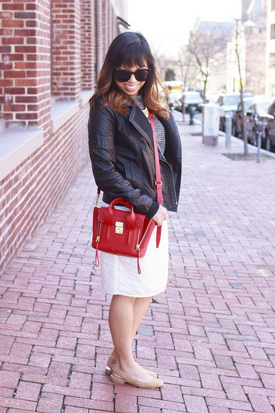 black Club Monaco shirt - red 31 Phillip Lim bag - cream H&M skirt