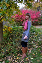 black merona skirt - brown Sofft boots - heather gray xhilaration shirt