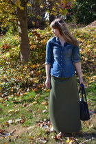 army green maxi skirt Mossimo skirt - blue H&M shirt - black kate spade bag