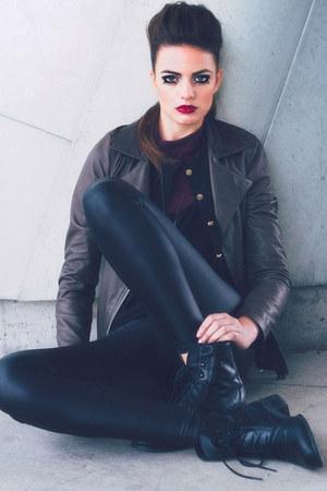 violet boots - mustard leather jacket - spandex leggings - dark brown cardigan