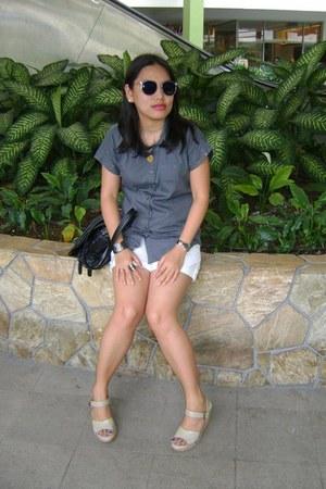 charcoal gray Penshoppe shirt - white Penshoppe shorts - periwinkle Pill footwea