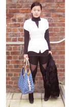 Thierry Mugler jacket - unknown t-shirt - H&M top - asos leggings - Zara shoes -