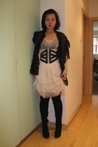 Hong Kong dress - Bolongaro Trevor blazer - Topshop belt - vintage blazer - Tops