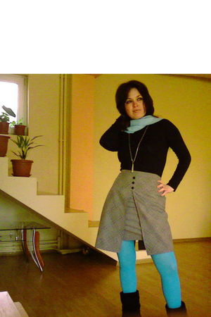 blue scarf - black blouse - gray skirt - blue tights - black boots - necklace