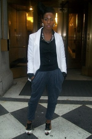 white Payless shoes - white H&M blazer - silver afaze earrings