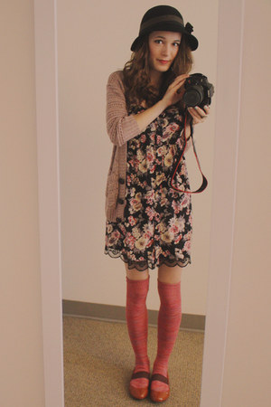 black floral dress - black Urban Outfitters hat - coral American Eagle socks