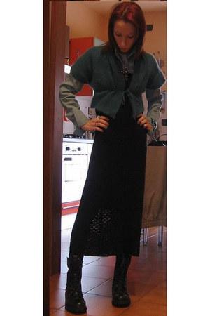 light blue Indian Rose shirt - light blue Diesel cardigan - black D&G dress - bl
