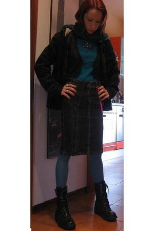 dark gray Miss Sixty jacket - teal phard sweater - gray Miss Sixty skirt - teal