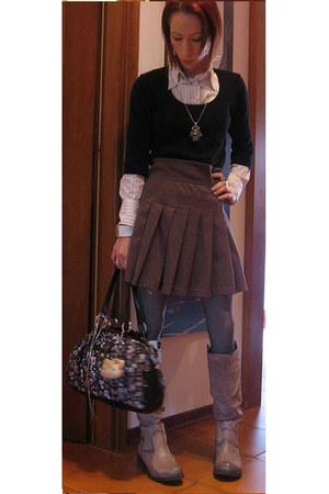 black Kookai sweater - white gff shirt - heather gray Moschino skirt - silver AS