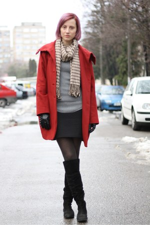 heather gray nowIStyle sweater - brick red H&M coat - brown nowIStyle scarf