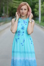 Aquamarine-vintage-dress-purple-filty-pumps-gold-topshop-bracelet