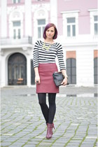 faux leather H&M skirt - H&M boots - random tights - studded Stradivarius bag