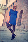 Black-h-m-boots-blue-electric-h-m-dress-black-studded-stradivarius-bag