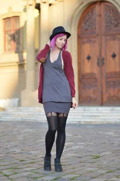 black studded random boots - heather gray Mango dress - black mens random hat
