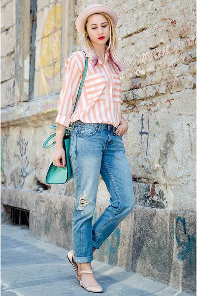 blue boyfriend jeans H&M jeans - light pink H&M hat