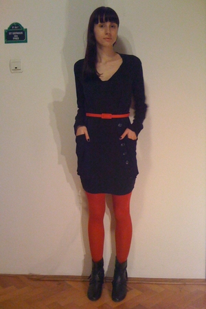 black dress - black Terranova blazer - red belt - black red lips boots - red No