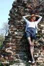 Black-fiore-tights-heather-gray-bershka-cardigan-navy-amisu-romper-heather