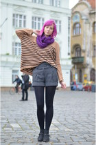 knit DIY scarf - stripes H&M sweater - wool random shorts