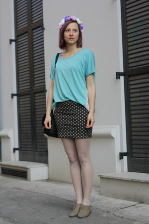 olive green H&amp;M shoes - turquoise blue nowIStyle shirt