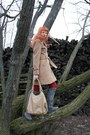 Gray-random-boots-camel-topshop-coat-red-random-tights-beige-benvenuti-bag