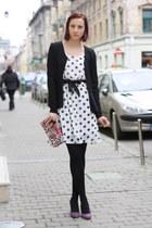 black jacket - bubble gum animal print bag - white polka dots panties