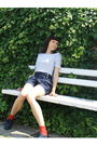 Black-amisu-shorts-red-charme-socks-blue-red-lips-shoes