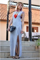 heather gray H&M dress - ivory meli melo hat - black studded Stradivarius bag