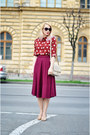Ruby-red-nowistyle-shirt-tan-nowistyle-bag-magenta-midi-asos-skirt