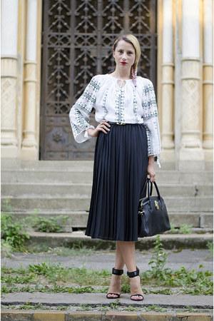 white Romanian Label blouse - black nowIStyle bag - black pleated Zara skirt