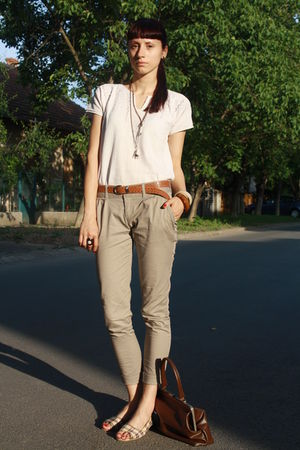 white vintage blouse - beige Stradivarius pants - white random shoes - brown thr
