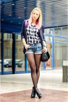 black ankle H&M boots - navy thrifted blazer - heather gray Bershka shirt