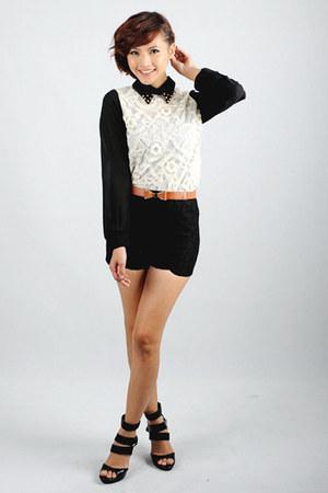 Skinny Heels blouse - Skinny Heels shorts - belt - heels