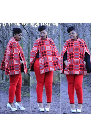 vintage cape - ruby red Forever 21 jeans - white H&M heels