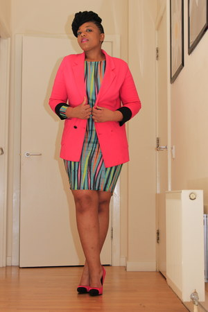 Ebay dress - chartreuse H&M blazer - hot pink internacional blazer