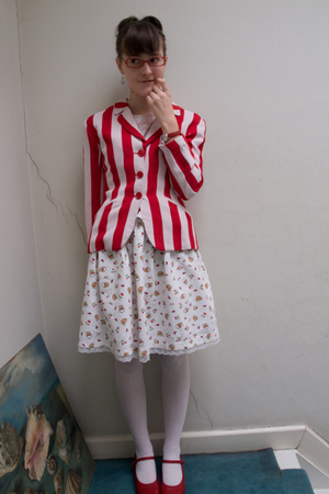 red Kenzo jacket - white handmade skirt - red camper shoes