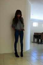 skinny jeans supre pants - zipped booties Temt wedges - Dotti blouse