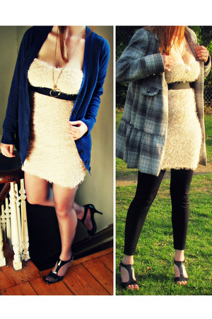 neutral Sympbony dress - heather gray jacket - black leggings
