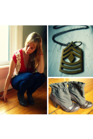 dark brown Coconuts heels - navy Just Usa jeans - mustard Rose & Anchor necklace
