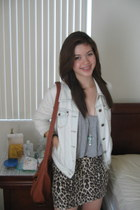 blue denim jacket Forever 21 jacket - dark brown thrifted vintage bag - leopard 