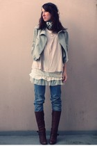gray new look jacket - beige H&M shirt - white Zara dress - blue Bershka jeans -