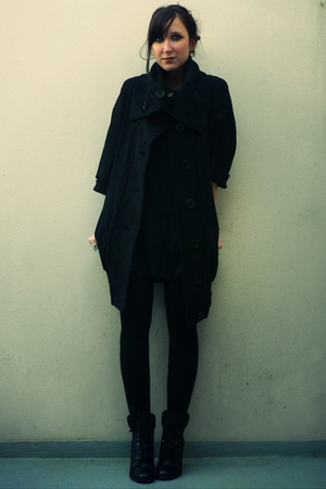 black new look coat - American Apparel dress - black  stockings - black new look